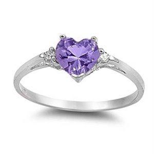 Sterling Silver Purple Heart Ring 💜